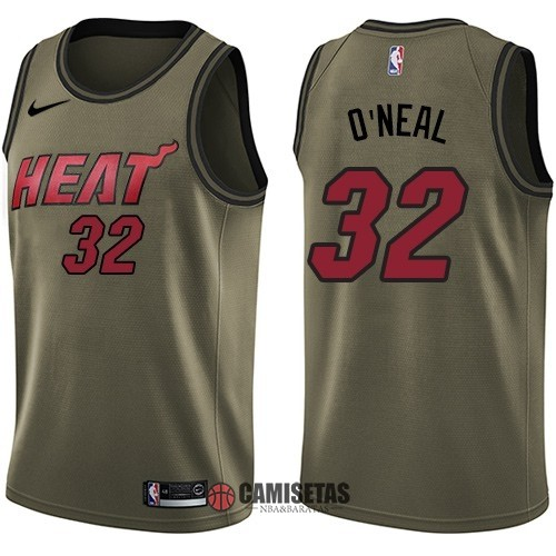 Camisetas NBA Salute To Servicio Miami Heat NO.32 Shaquille O'Neal Nike Ejercito Verde 2018 Barats