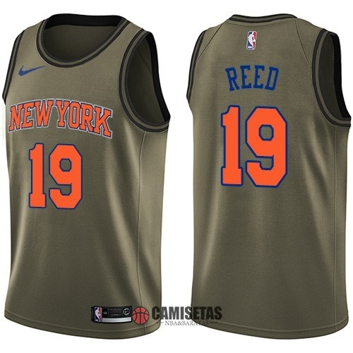 Camisetas NBA Salute To Servicio New York Knicks NO.19 Willis Reed Nike Ejercito Verde 2018 Barats