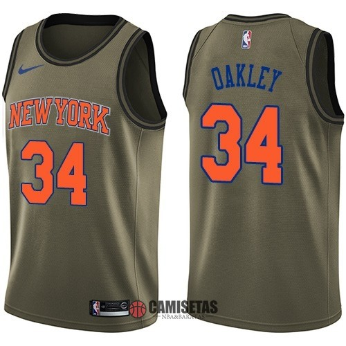 Camisetas NBA Salute To Servicio New York Knicks NO.34 Charles Oakley Nike Ejercito Verde 2018 Barats