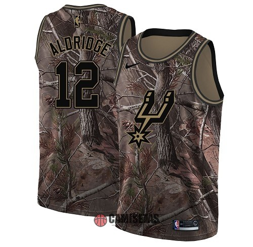 Camisetas NBA San Antonio Spurs NO.12 LaMarcus Aldridge Camo Swingman Realtree Collection 2018 Barats