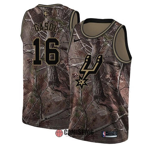 Camisetas NBA San Antonio Spurs NO.16 Pau Gasol Camo Swingman Realtree Collection 2018 Barats