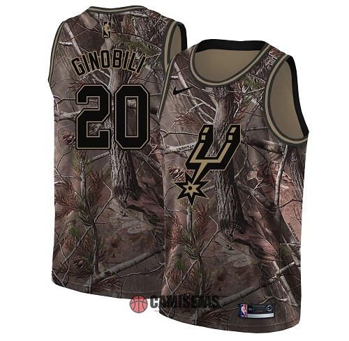 Camisetas NBA San Antonio Spurs NO.20 Manu Ginobili Camo Swingman Realtree Collection 2018 Barats