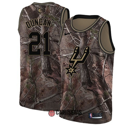 Camisetas NBA San Antonio Spurs NO.21 Tim Duncan Camo Swingman Realtree Collection 2018 Barats