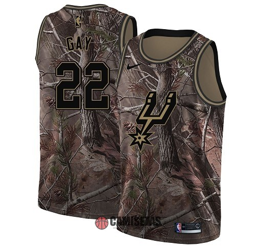 Camisetas NBA San Antonio Spurs NO.22 Rudy Gay Camo Swingman Realtree Collection 2018 Barats