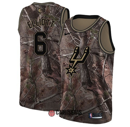 Camisetas NBA San Antonio Spurs NO.6 Sean Elliott Camo Swingman Realtree Collection 2018 Barats