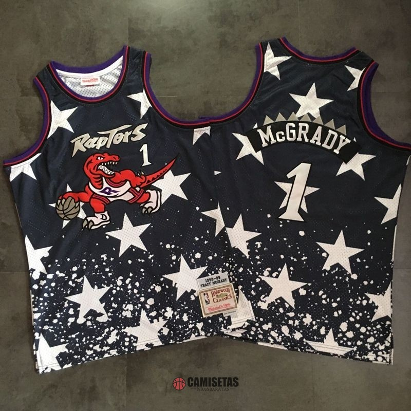 Camisetas NBA Toronto Raptors NO.1 Tracy McGrady Retro Negro AU Barats