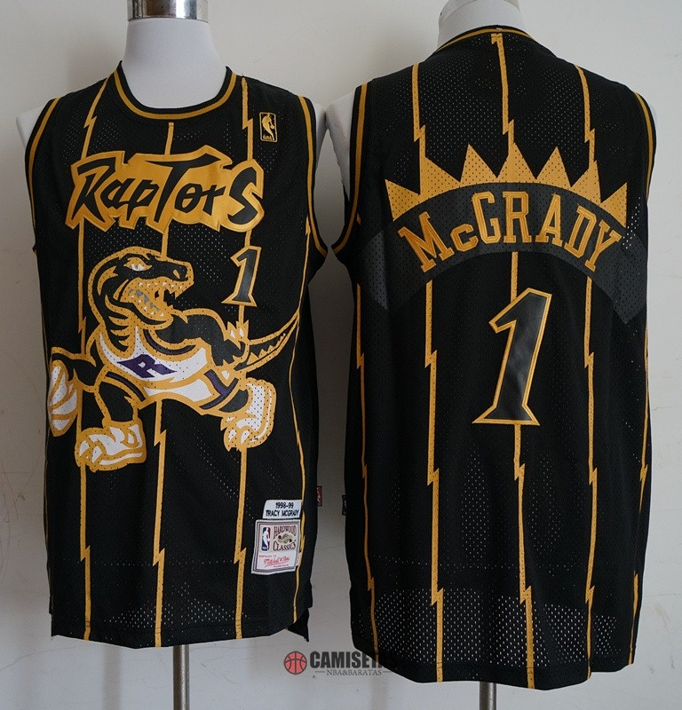 Camisetas NBA Toronto Raptors NO.1 Tracy McGrady Retro Oro Negro 1998-99 Barats