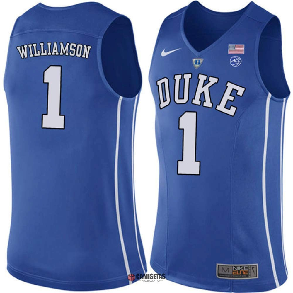 Camisetas NCAA Duke NO.1 Zion Williamson Azul Barats