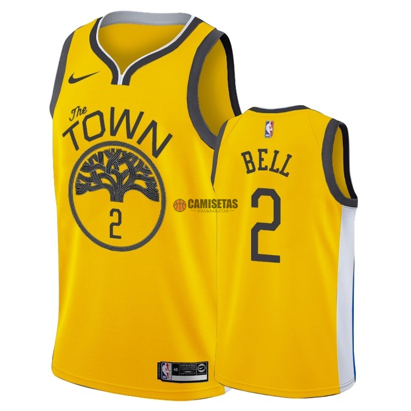 Camisetas NBA Edición ganada Golden State Warriors NO.2 Jordan Bell Nike Oro 2018-19 Barats