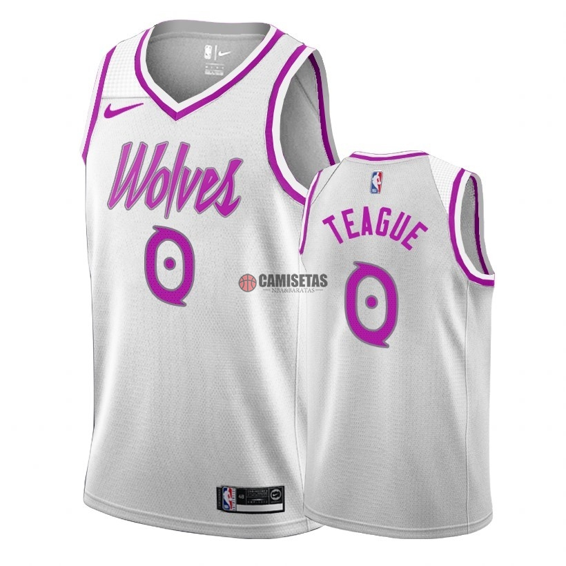Camisetas NBA Edición ganada Minnesota Timberwolves NO.0 Jeff Teague Blanco 2018-19 Barats
