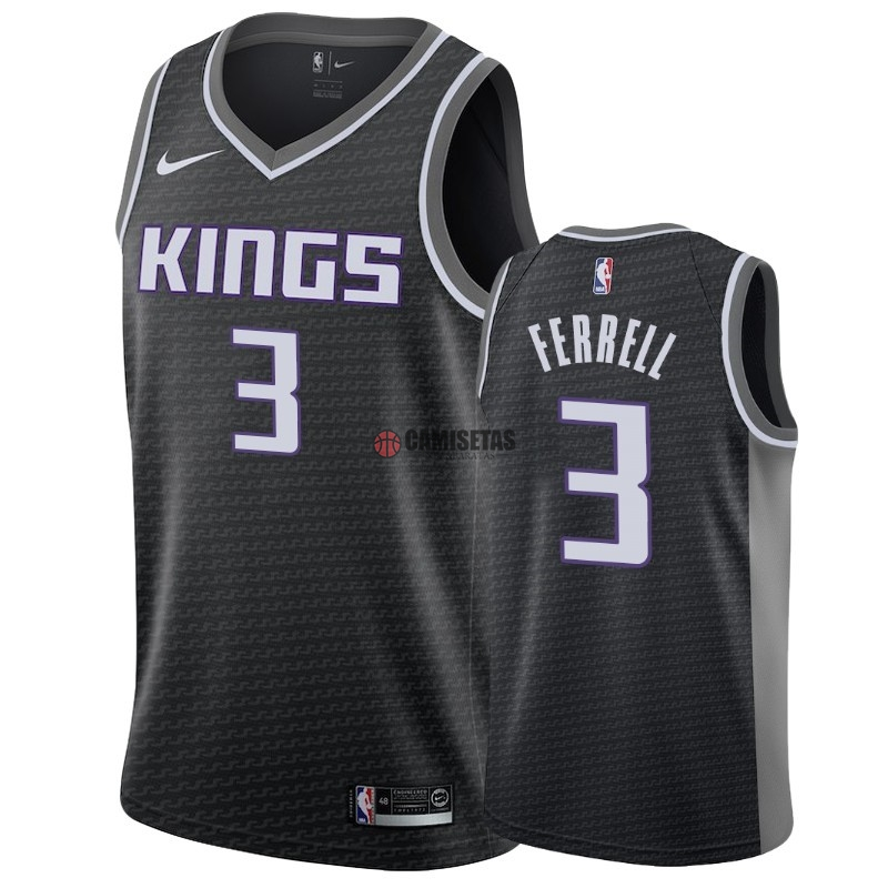 Camisetas NBA Nike Sacramento Kings NO.3 Yogi Ferrell Negro Statement 2018-19 Barats
