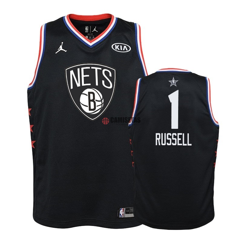 Camisetas NBA Niño 2019 All Star NO.1 D'Angelo Russell Negro Barats