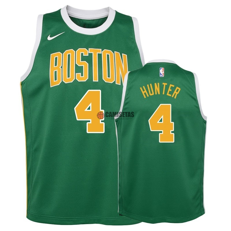 Camisetas NBA Niño Edición ganada Boston Celtics NO.4 R.J. Hunter Verde 2018-19 Barats