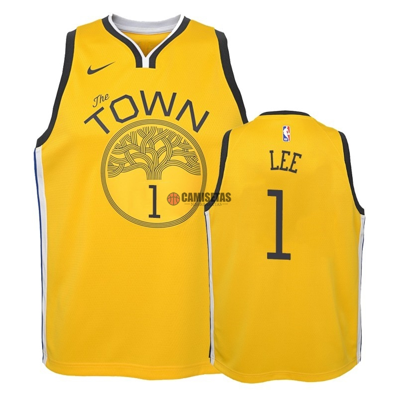 Camisetas NBA Niño Edición ganada Golden State Warriors NO.1 Damion Lee Amarillo 2018-19 Barats