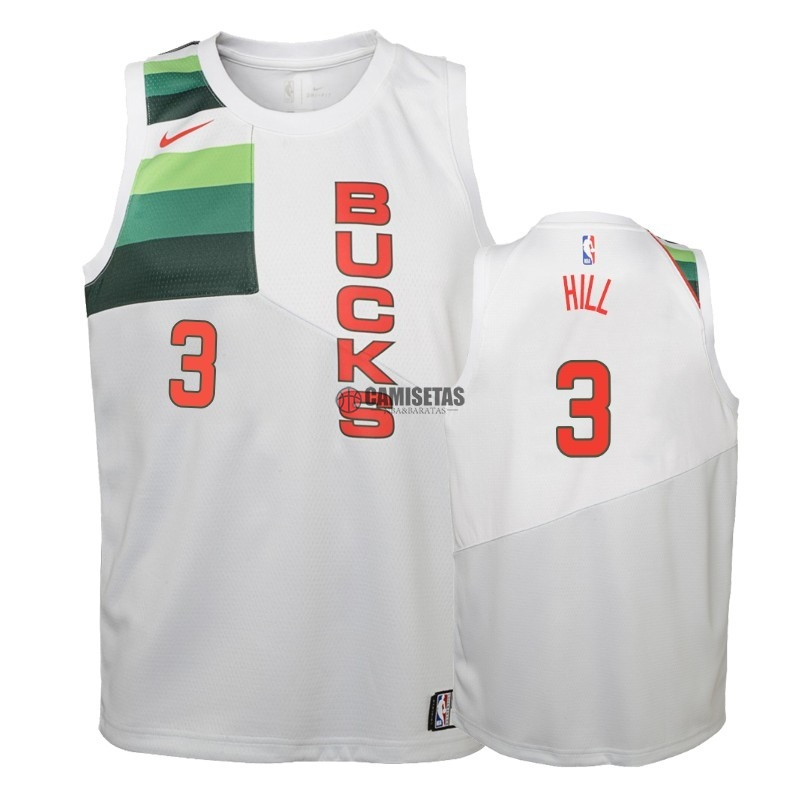 Camisetas NBA Niño Edición ganada Milwaukee Bucks NO.3 George Hill Blanco 2018-19 Barats