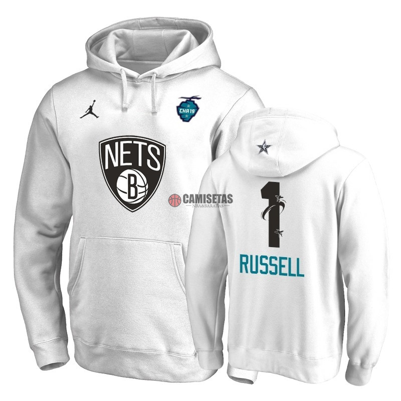 Sudaderas Con Capucha 2019 All Star Brooklyn Nets NO.1 D'Angelo Russell Blanco Barats