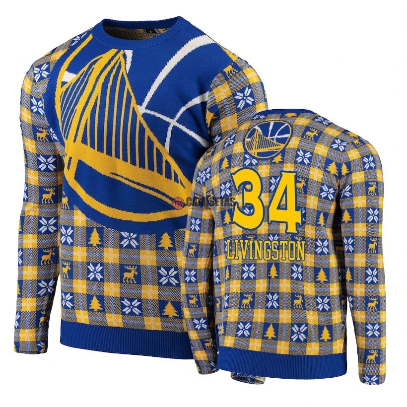 Unisex Ugly Sweater Golden State Warriors NO.34 Shaun Livingston Azul Barats