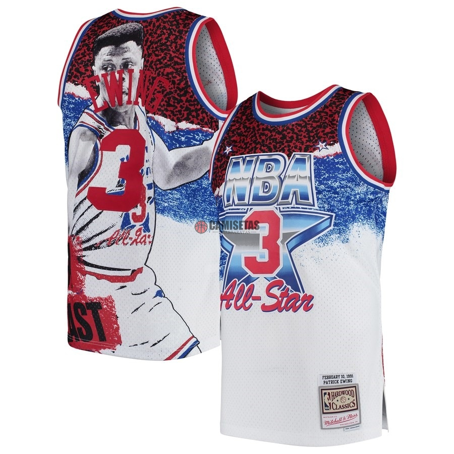Camisetas NBA All Star 1991 NO.3 Patrick Ewing Blanco Barats