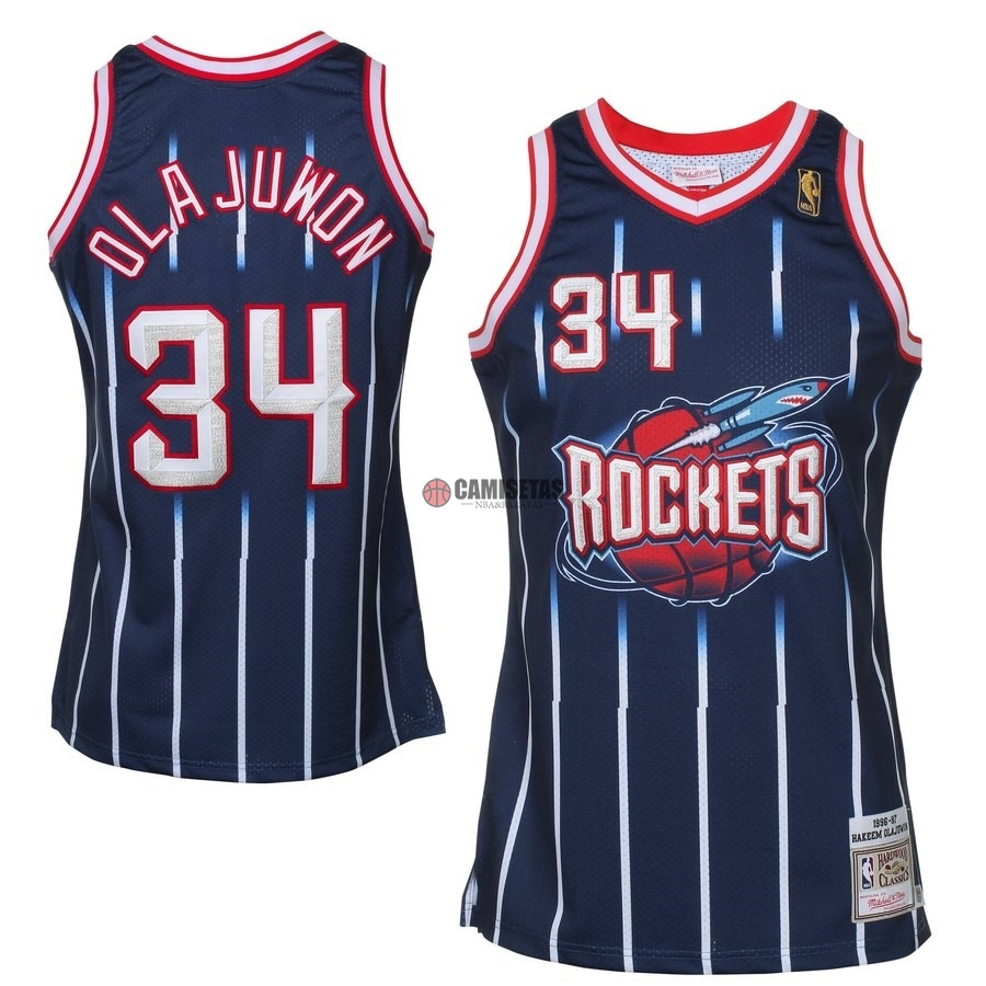 Camisetas NBA All Star 1996-97 NO.34 Hakeem Olajuwon Azul Barats