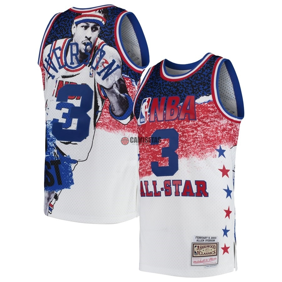 Camisetas NBA All Star 2003 NO.3 Allen Iverson Blanco Barats