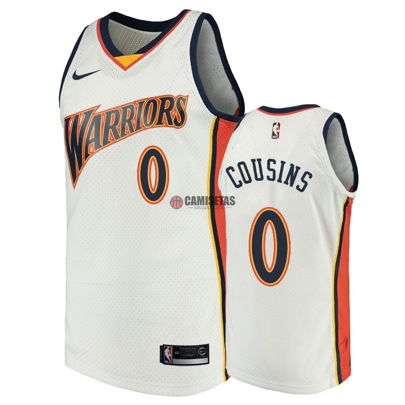 Camisetas NBA Golden State Warriors NO.0 DeMarcus Cousins Blanco Throwback Barats