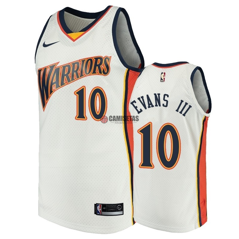 Camisetas NBA Golden State Warriors NO.10 Jacob Evans III Blanco Throwback Barats