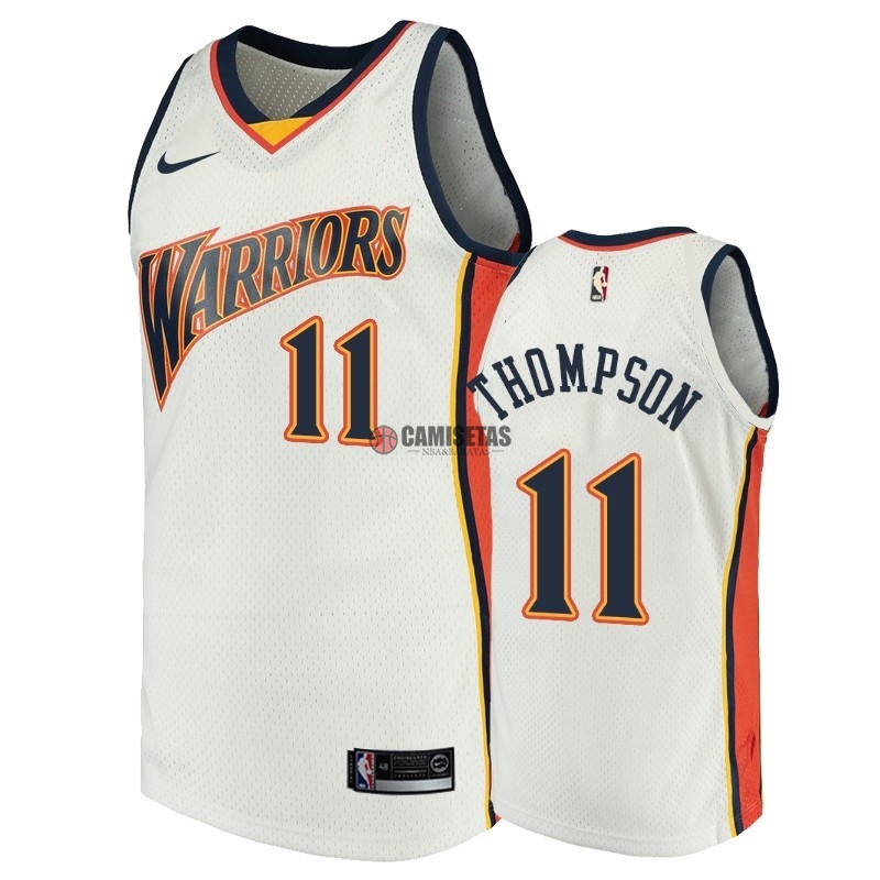 Camisetas NBA Golden State Warriors NO.11 Klay Thompson Blanco Throwback Barats