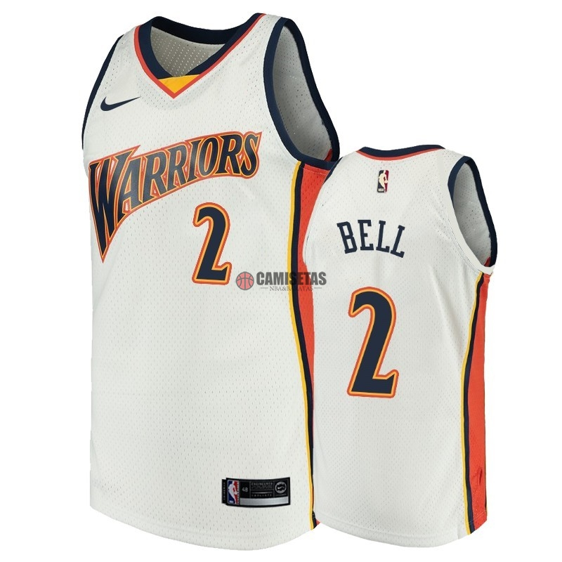 Camisetas NBA Golden State Warriors NO.2 Jordan Bell Blanco Throwback Barats