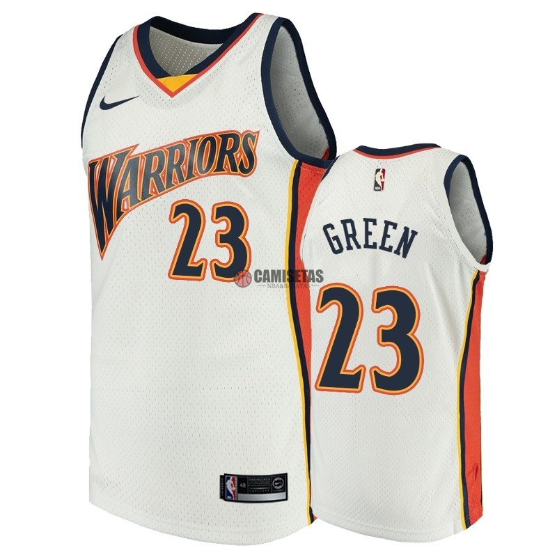 Camisetas NBA Golden State Warriors NO.23 Draymond Green Blanco Throwback Barats