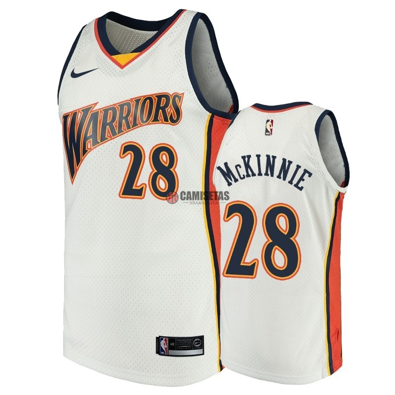 Camisetas NBA Golden State Warriors NO.28 Alfonzo McKinnie Blanco Throwback Barats