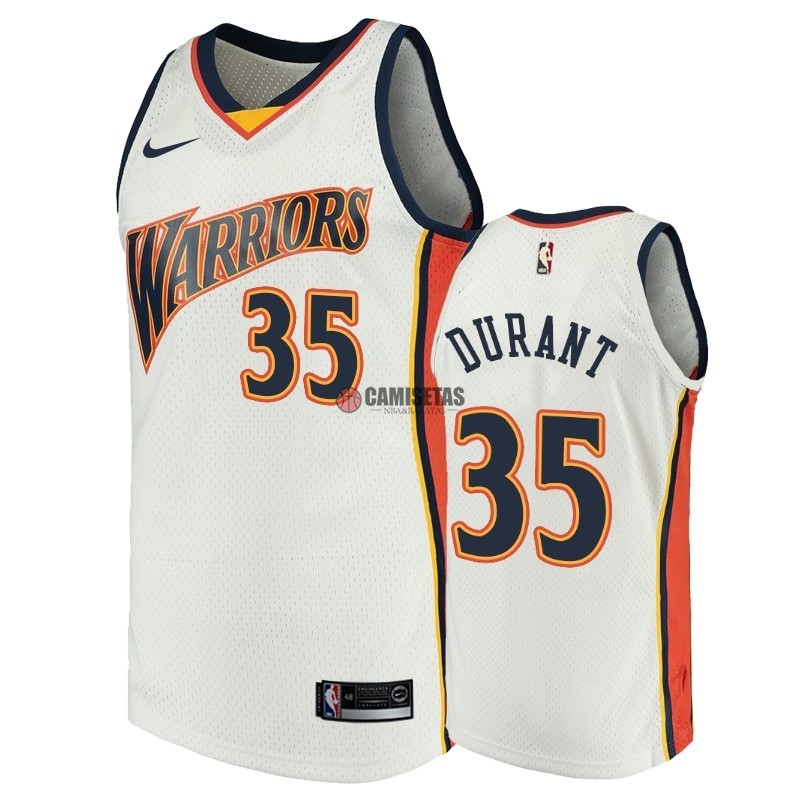 Camisetas NBA Golden State Warriors NO.35 Kevin Durant Blanco Throwback Barats