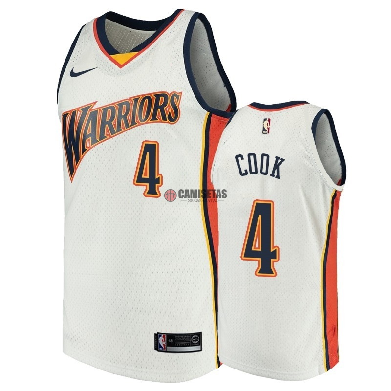 Camisetas NBA Golden State Warriors NO.4 Quinn Cook Blanco Throwback Barats