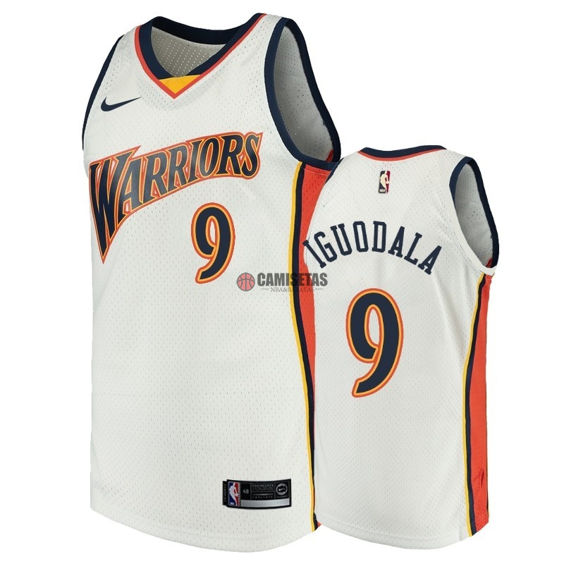 Camisetas NBA Golden State Warriors NO.9 Andre Iguodala Blanco Throwback Barats