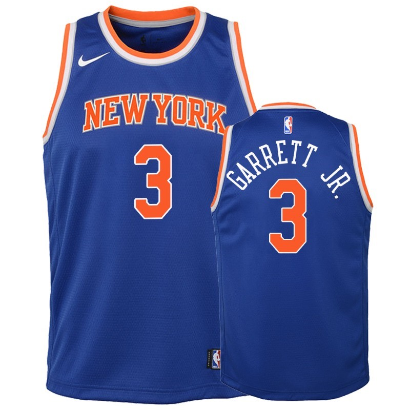 Camisetas NBA Niño New York Knicks NO.3 Billy Garrett Jr. Azul Icon 2018-19 Barats