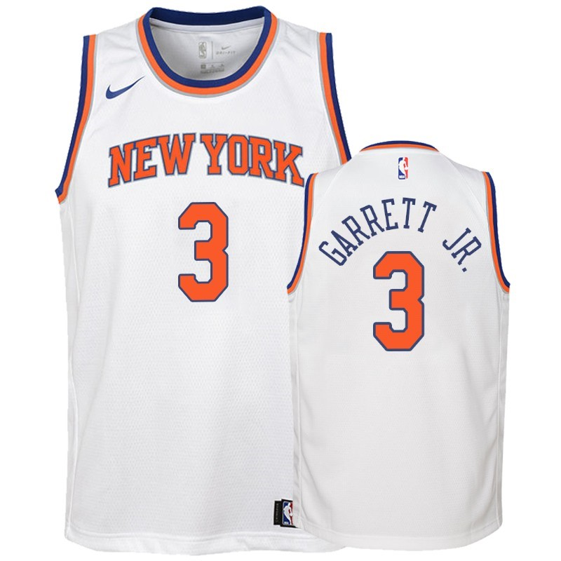 Camisetas NBA Niño New York Knicks NO.3 Billy Garrett Jr. Blanco Association 2018-19 Barats