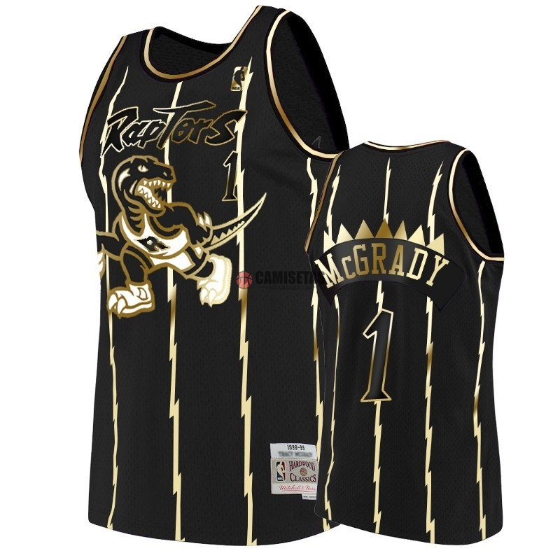 Camisetas NBA Nike Toronto Raptors NO.1 Tracy McGrady Oro Edition Barats