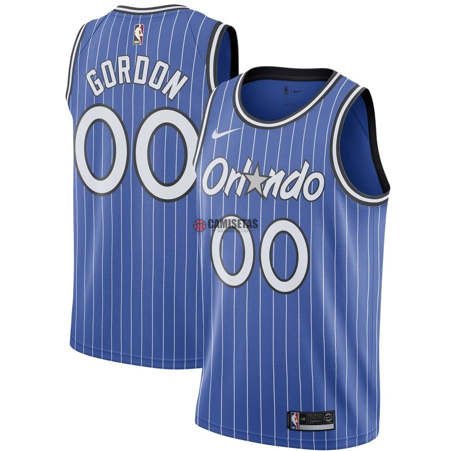 Camisetas NBA Orlando Magic NO.0 Aaron Gordon Azul Hardwood Classics Barats