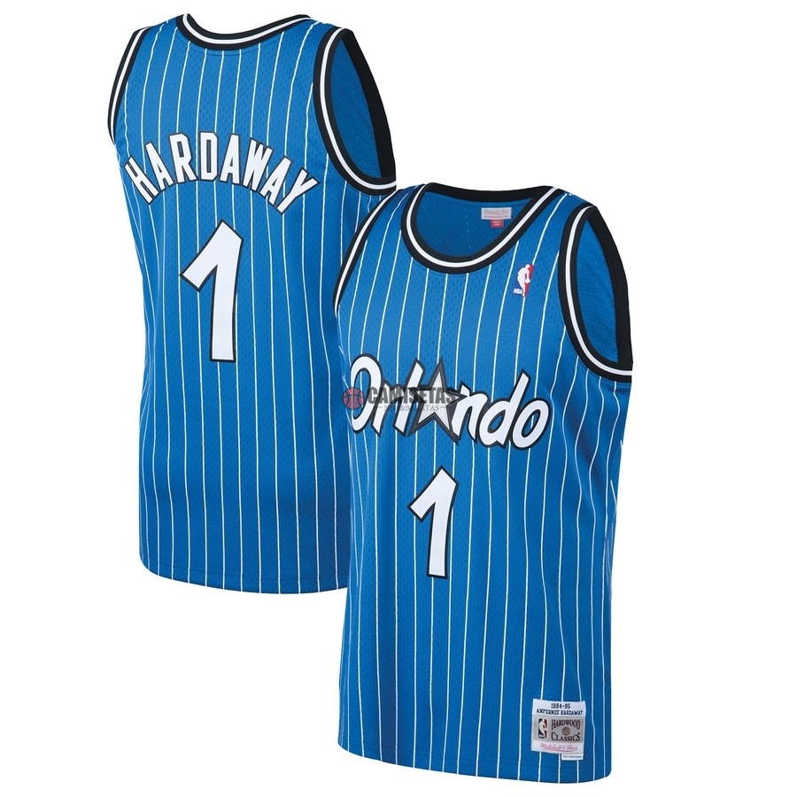 Camisetas NBA Orlando Magic NO.1 Penny Hardaway Azul Hardwood Classics 1994-95 Barats