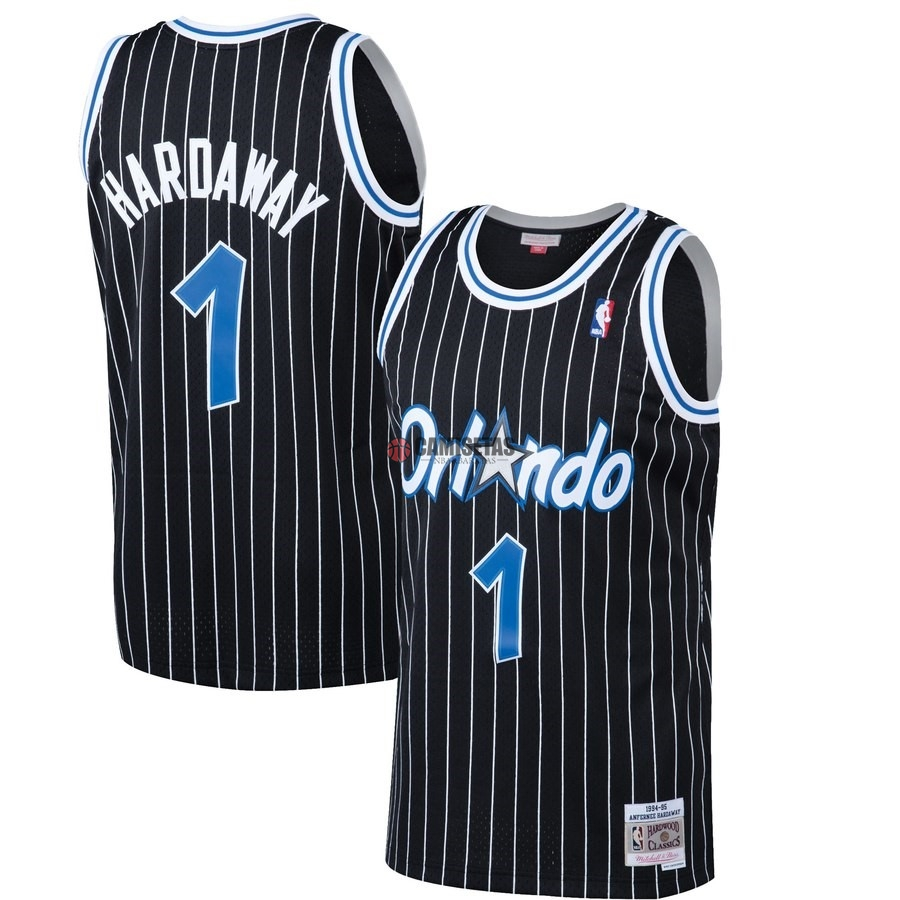 Camisetas NBA Orlando Magic NO.1 Penny Hardaway Negro Hardwood Classics 1994-95 Barats