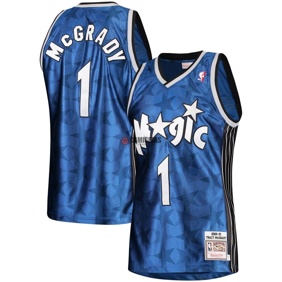 Camisetas NBA Orlando Magic NO.1 Tracy McGrady Azul Hardwood Classics 2000-01 Barats