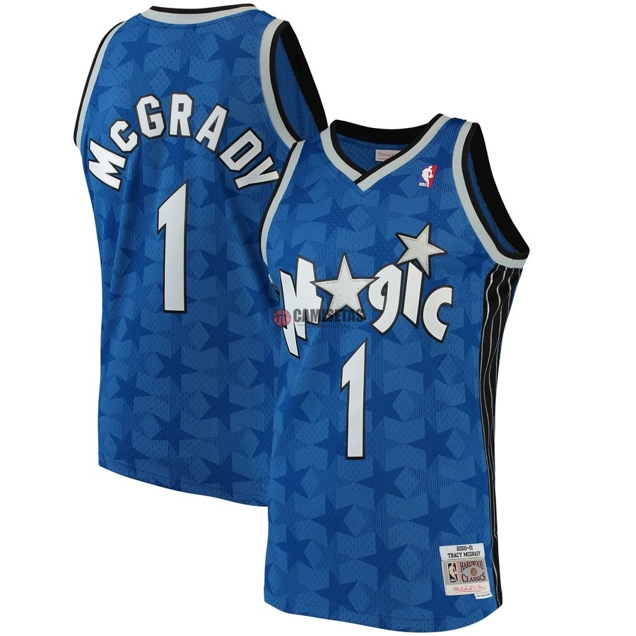 Camisetas NBA Orlando Magic NO.1 Tracy McGrady Azul Hardwood Classics 2001-02 Barats