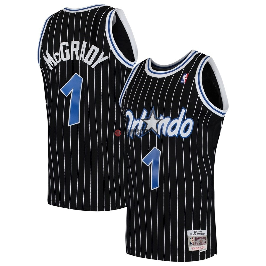 Camisetas NBA Orlando Magic NO.1 Tracy McGrady Negro Hardwood Classics 2003-04 Barats
