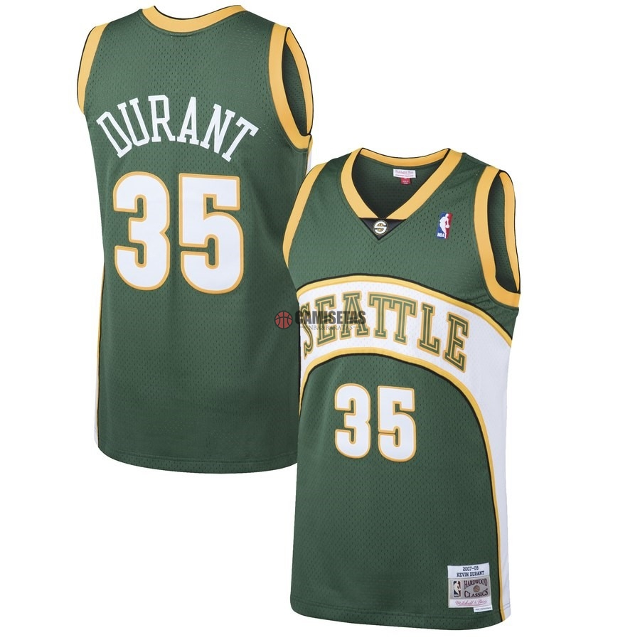 Camisetas NBA Seattle SuperSonics NO.35 Kevin Durant Verde Hardwood Classic 2007-08 Barats