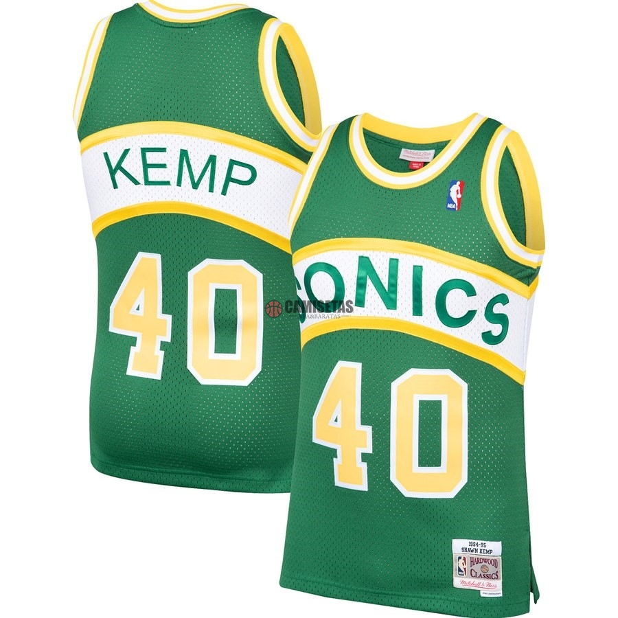 Camisetas NBA Seattle SuperSonics NO.40 Shawn Kemp Verde Hardwood Classic 1994-95 Barats