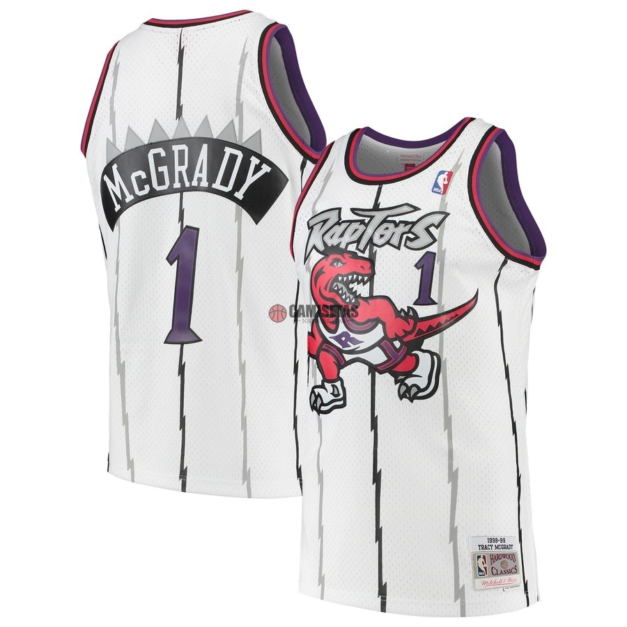 Camisetas NBA Toronto Raptors NO.1 Tracy McGrady Blanco Hardwood Classic 1998-99 Barats