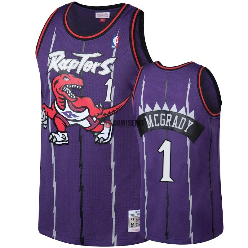 Camisetas NBA Toronto Raptors NO.1 Tracy McGrady Púrpura Hardwood Classic 1998-99 Barats