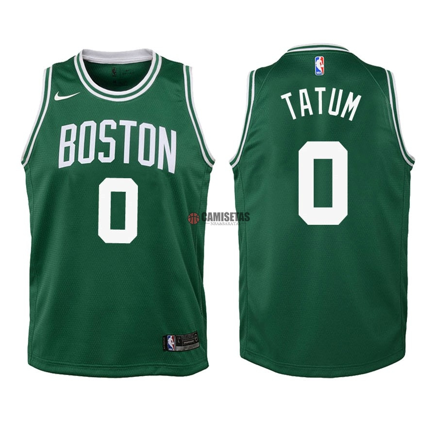 Camisetas NBA Niño Boston Celtics NO.0 Jayson Tatum Verde Icon 2018-19 Barats