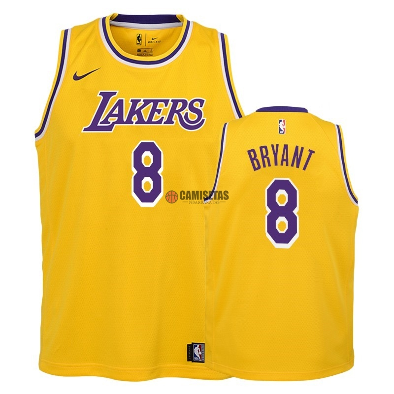 Camisetas NBA Niño Los Angeles Lakers NO.8 Kobe Bryant Amarillo Icon 2018-19 Barats