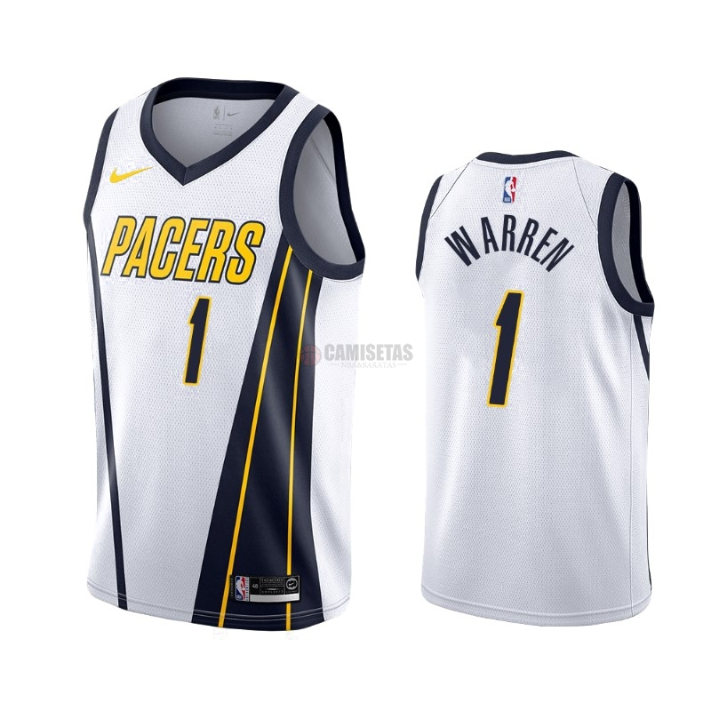 Camisetas NBA Edición ganada Indiana Pacers NO.26 T.J. Warren Gray Blanco 2019-20