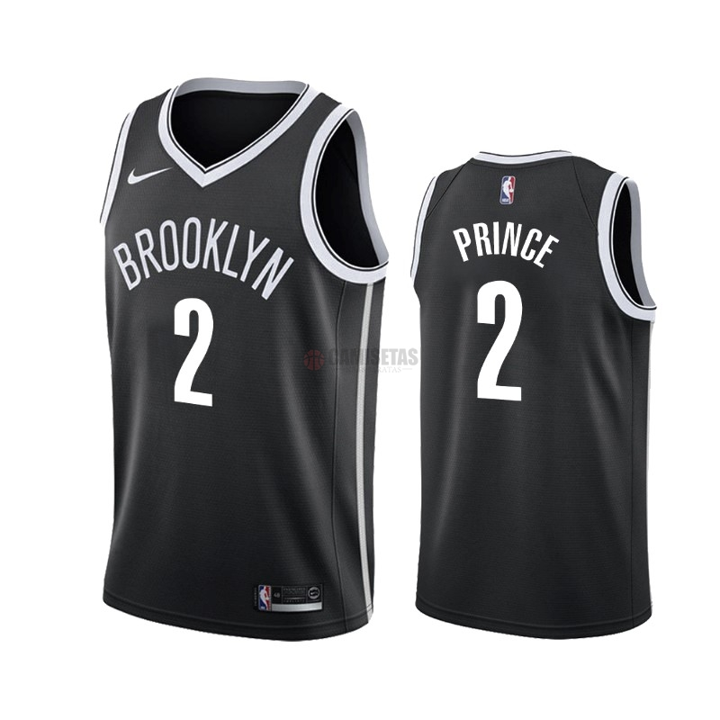 Camisetas NBA Nike Brooklyn Nets NO.2 Taurean Prince Negro Icon 2019-20